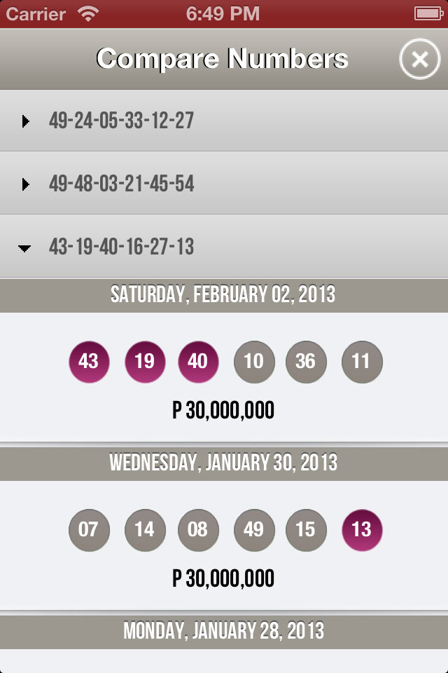 Pinoy Lotto iOS Compare Numbers