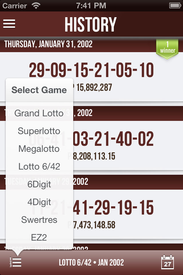 Pinoy Lotto iOS PCSO History