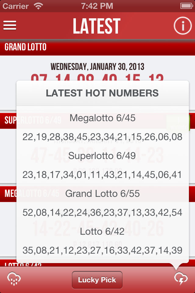 Pinoy Lotto iOS PCSO Hot and Cold Numbers