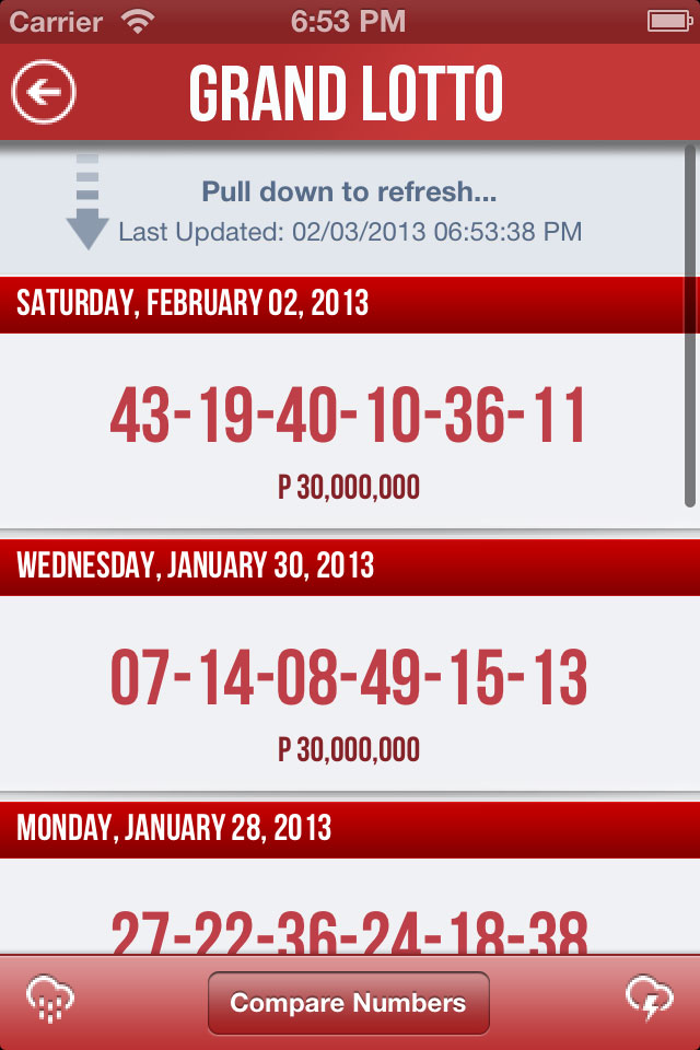 Pinoy Lotto PCSO iOS Top 5 Draw